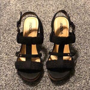 Black Soda Jenny Wedge Heels 7
